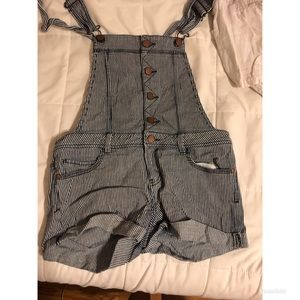 Striped Overalls shorts
